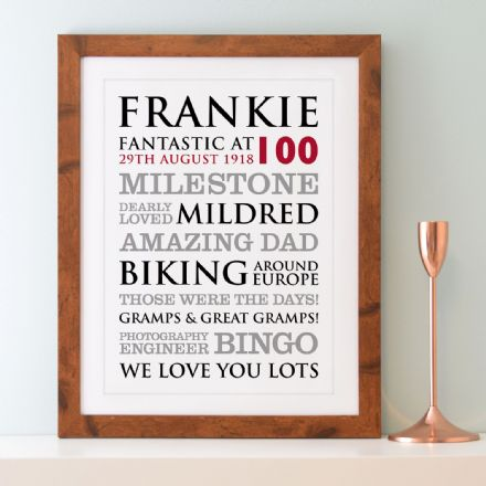 Personalised 100th Birthday Typographic Art Print